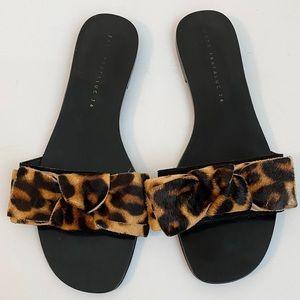 Zara Trafaluc Leopard Print Bow Slides